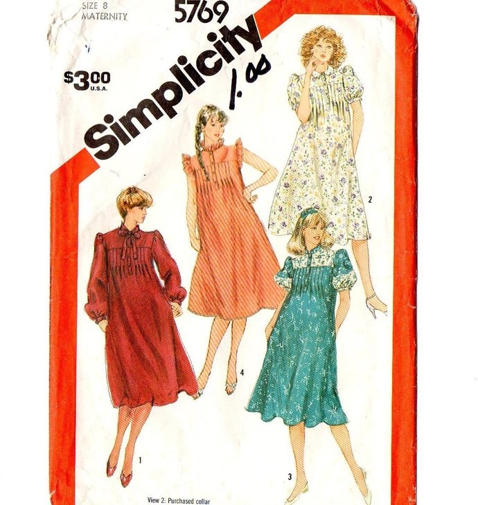 Simplicity 5769 Misses Tucked Maternity Dress 80s Vintage Sewing Pattern Size 8
