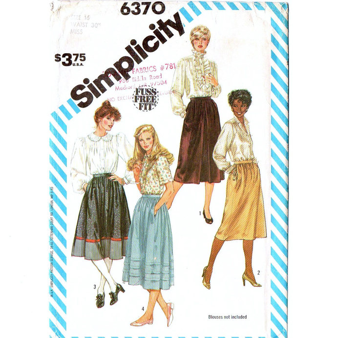 Simplicity 6370 Misses Gathered Skirt 80s Vintage Sewing Pattern Size 16 Waist