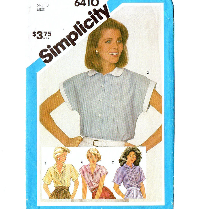Simplicity 6410 Misses Tucked Shirt, Blouse 80s Vintage Sewing Pattern Size 10