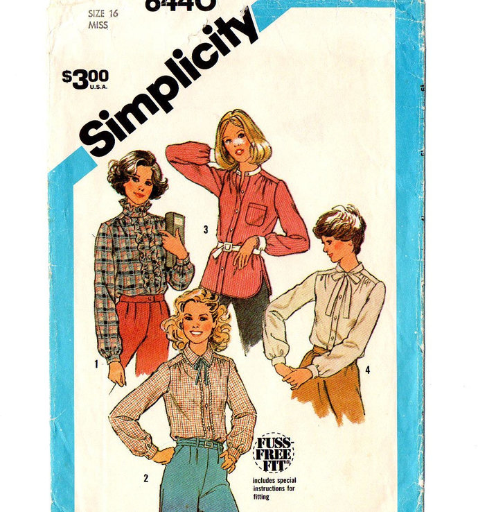 Simplicity 6440 Misses Long Sleeve Blouse 80s Vintage Sewing Pattern Size 16