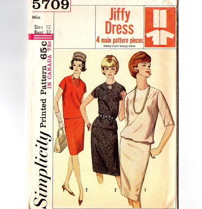 Simplicity 5709 Misses Top, Skirt 60s Vintage Sewing Pattern Size 12 Bust 32