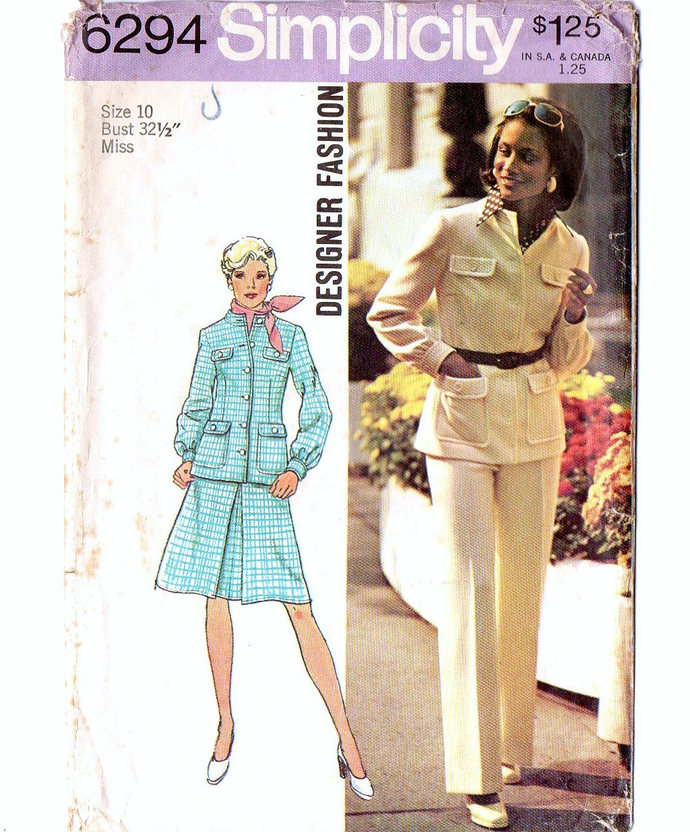 Simplicity 6294 Misses Jacket, Skirt, Pants 70s Vintage Sewing Pattern Size 10