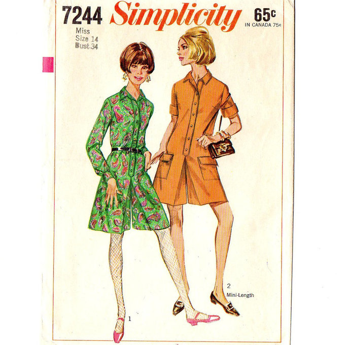 Simplicity 7244 Misses Pant-dress 60s Vintage Sewing Pattern Size 14 Bust 34