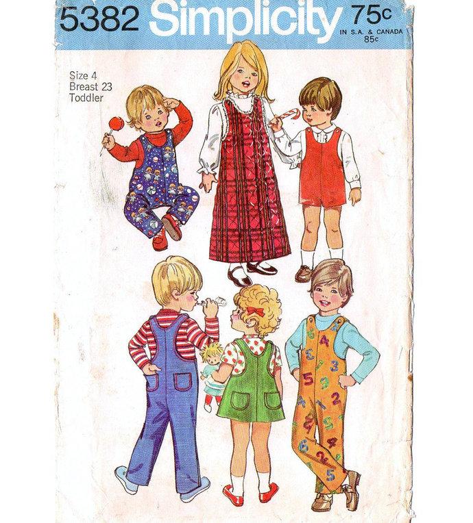 Simplicity 5382 Boy/Girl Jumper Jumpsuit 70s Vintage Sewing Pattern UNCUT Size 4