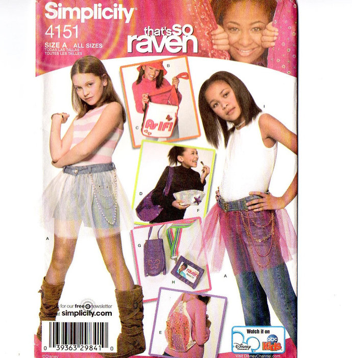 Simplicity 4151 Girls So Raven Sewing Pattern Hat, Purse, Net Skirt, Headband,