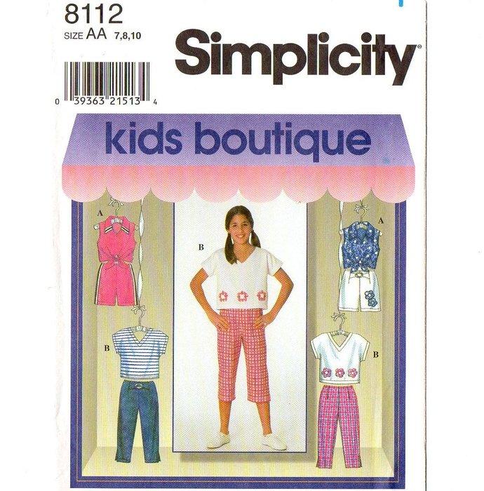 Simplicity 8112 Girls Top Capri Shorts Pants 90s Vintage Sewing Pattern 7, 8, 10