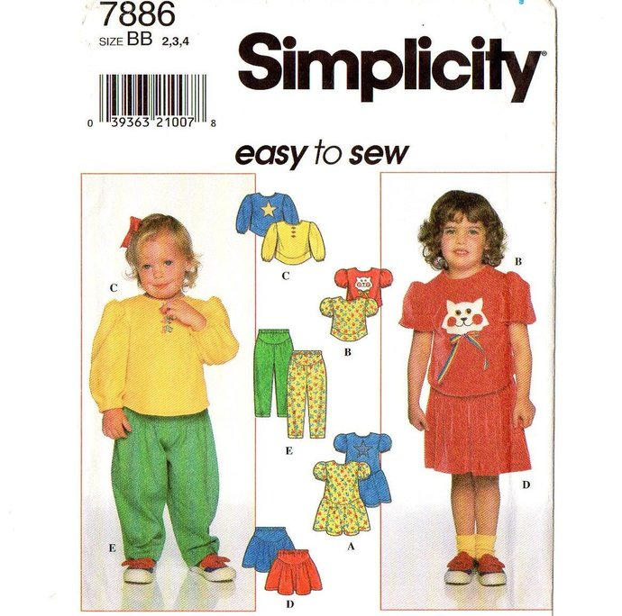 Simplicity 7886 Girl Toddler Knit Dress Top Skirt Pants 90s Vintage Sewing