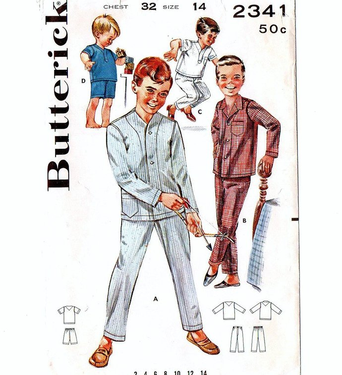 Butterick 2341 Boys Short/Long Pajamas 60s Vintage Sewing Pattern Size 14 Chest