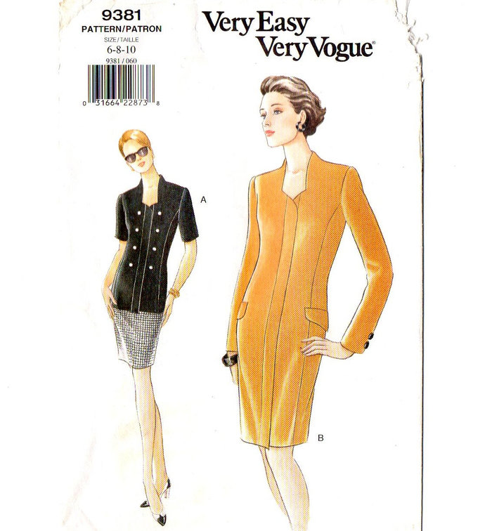 Vogue 9381 Misses Dress Top Skirt 90s Sewing Pattern Size 6, 8, 10 Bust 30 1/2,
