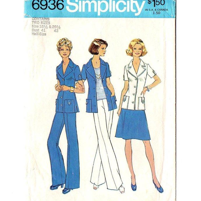 Simplicity 6936 Misses Shirt Jacket, Skirt, Pants 70s Vintage Sewing Pattern