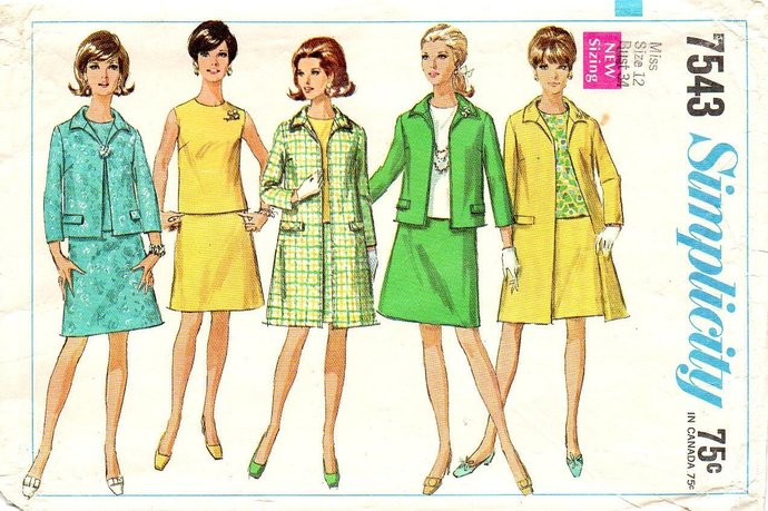 Simplicity 7543 Misses Coat, Jacket, Blouse, Skirt 60s Sewing Pattern Size 12