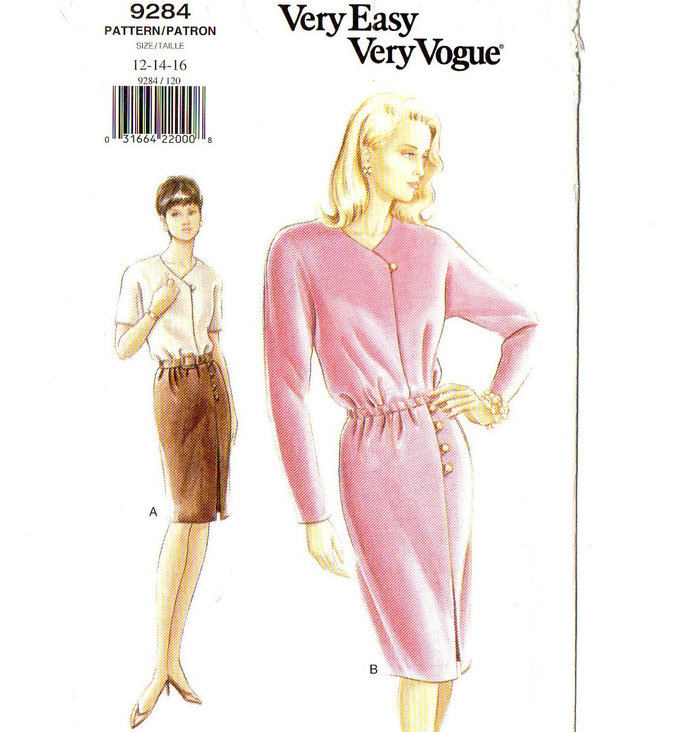 Vogue 9284 Misses Mock Wrap Dress 90s Uncut Sewing Pattern Size 12, 14, 16 Bust
