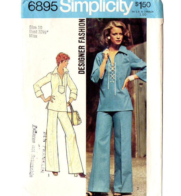Simplicity 6895 Misses Laced Top, Pants 70s Vintage Sewing Pattern Size 10 Bust