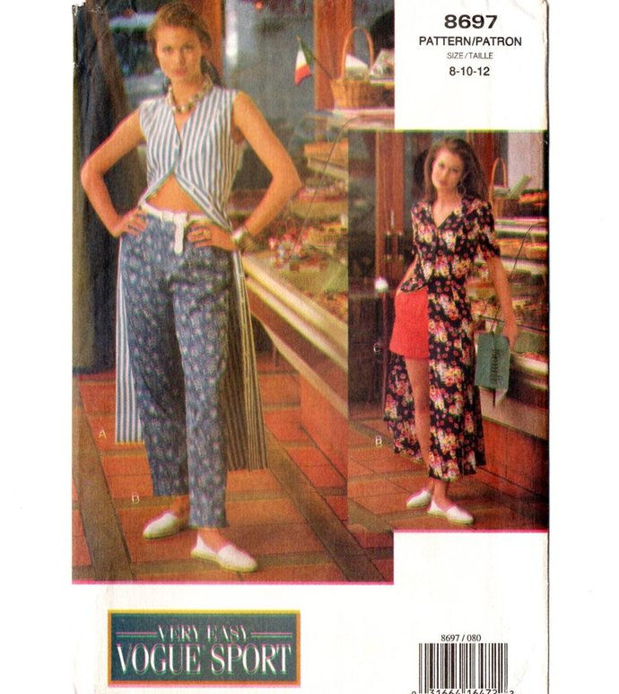 Vogue 8697 Misses Long Princess Dress Shorts Pants 90s Sewing Pattern Size 8,