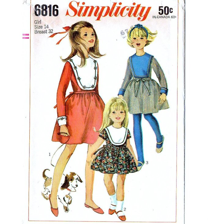 Simplicity 6816 Teen Girl Dress 60s Vintage Sewing Pattern UNCUT Size 14 Bust 32