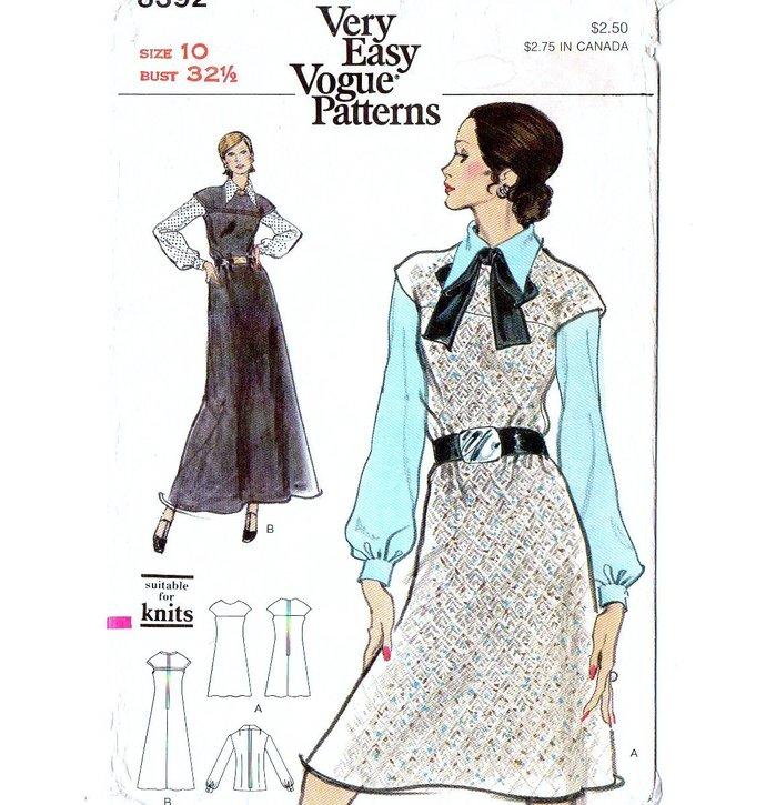 Vogue 8392 Misses Jumper, Blouse 70s Sewing Pattern Size 10 Bust 32 1/2 Cap