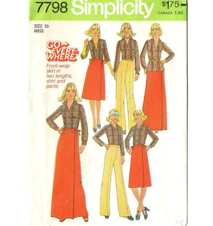 Simplicity 7798 Miss Wrap Skirt Pants Shirt 70s Vintage Sewing Pattern Size 16