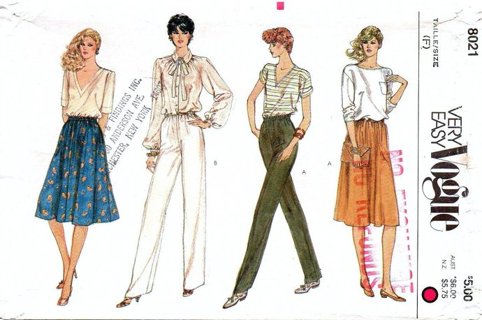 Very Easy Vogue 8021 Misses Pants Skirt Sewing Pattern  Size 16, 18 Waist 30, 32
