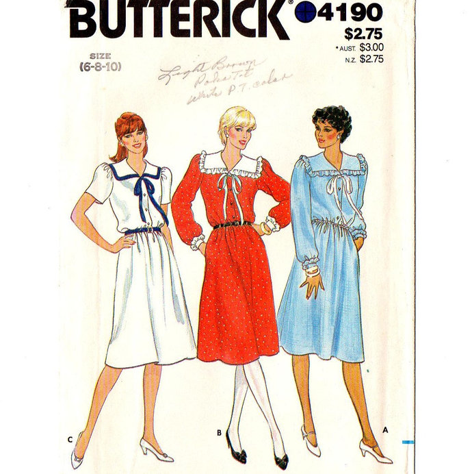 Butterick 4190 Misses Dress 80s Vintage Sewing Pattern Size 6, 8, 10 Bust 30