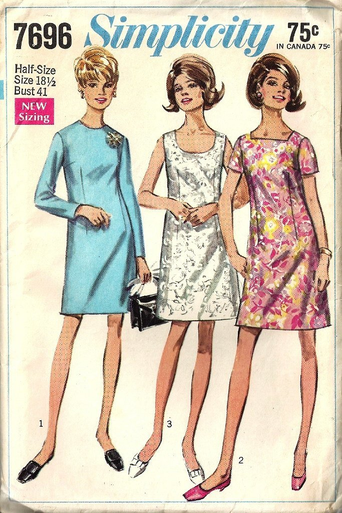 Simplicity 7696 Misses Basic Dress 60s Vintage Sewing Pattern Half Size 18 1/2