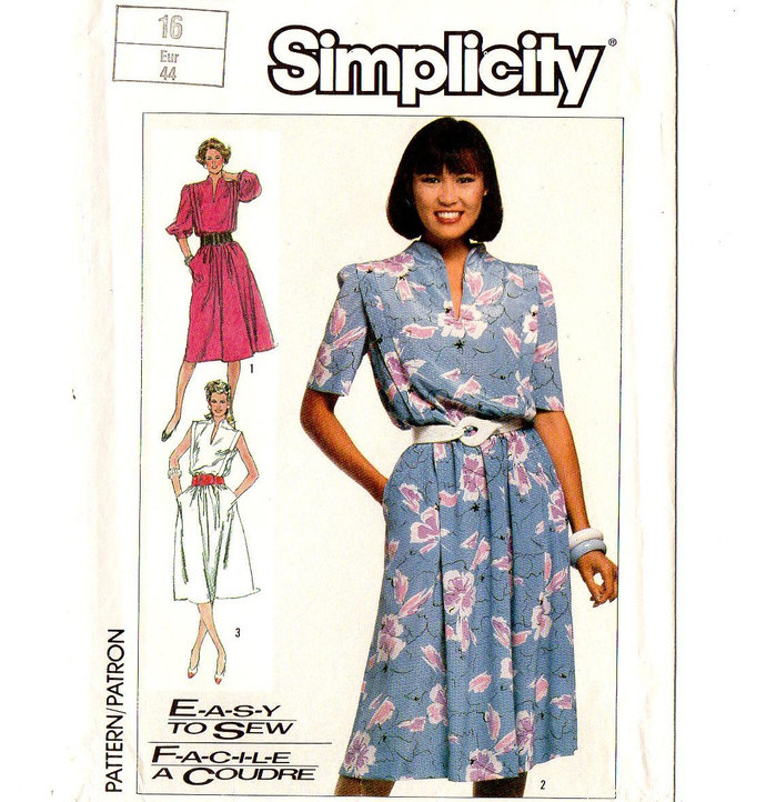 Simplicity 7446 Misses Dress 80s Sewing Pattern Size 16 Bust 38 Funnel Neckline