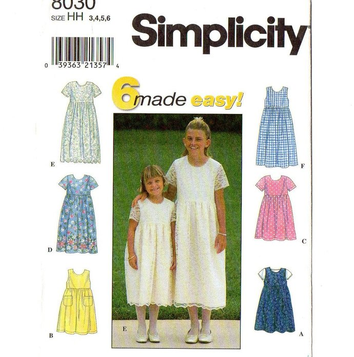 Simplicity 8030 Girls Dress 90s Vintage Sewing Pattern Size 3, 4, 5, 6 Chest 22,