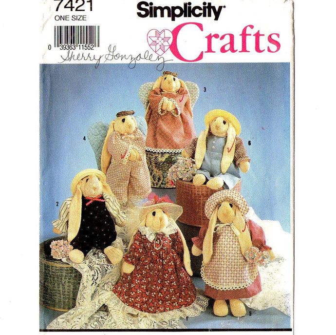 Simplicity 7421 Sock Bunny With Clothes 90s Sewing Pattern Uncut 10 Inch Stuffed