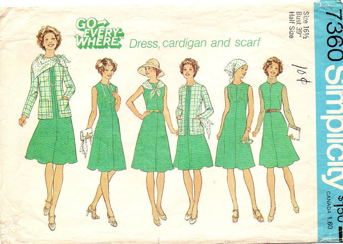 Simplicity 7360 Misses Dress Cardigan Scarf 70s Sewing Pattern Half Size 16 1/2
