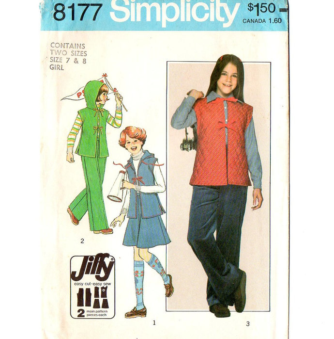 Simplicity 8177 Girls Skirt Pants Vest Hood 70s Sewing Pattern Size 7, 8 Chest