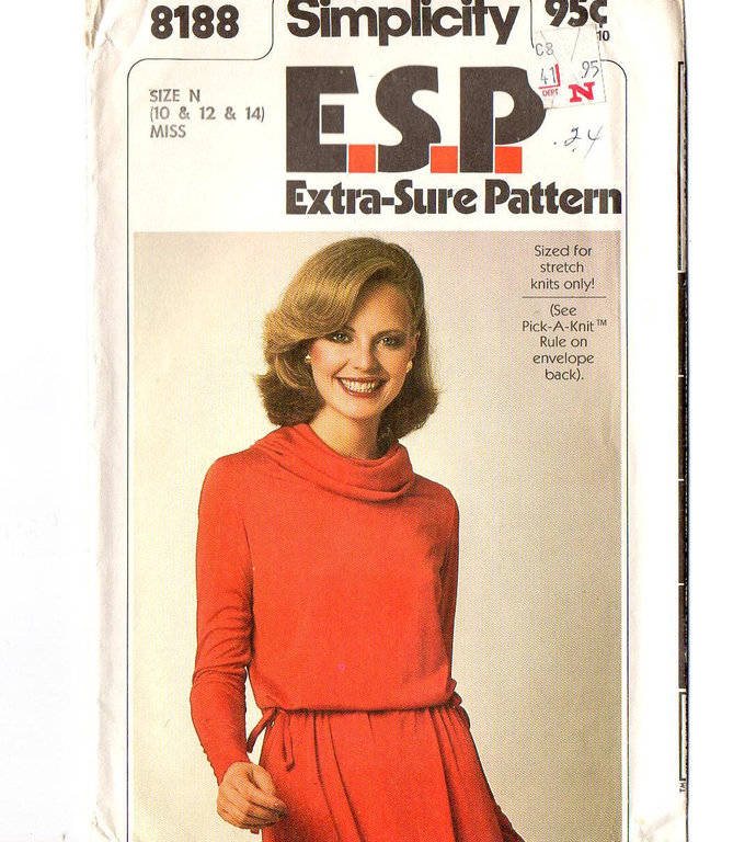 Simplicity 8188 Misses Cowl Neck Knit Dress 70s Sewing Pattern Size 10, 12, 14