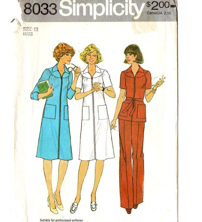 Simplicity 8033 Misses Dress Top Pants 70s Vintage Sewing Pattern Size 12 Bust