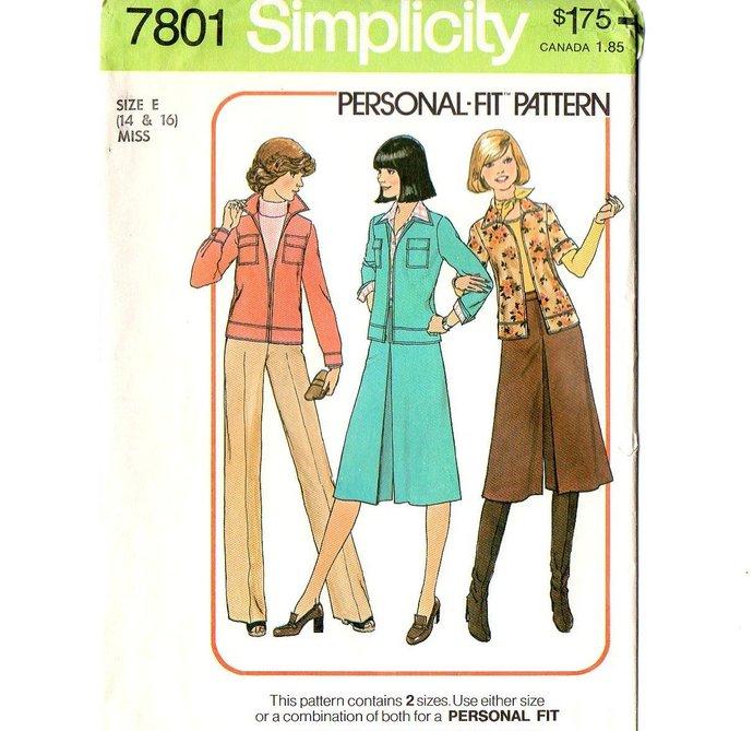 Simplicity 7801 Misses Pantskirt Jacket 70s Vintage Sewing Pattern Size 14, 16