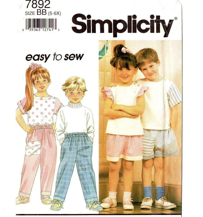 Simplicity 7892 Boy, Girl Top Pants Shorts 90s Vintage Sewing Pattern Size 5, 6,