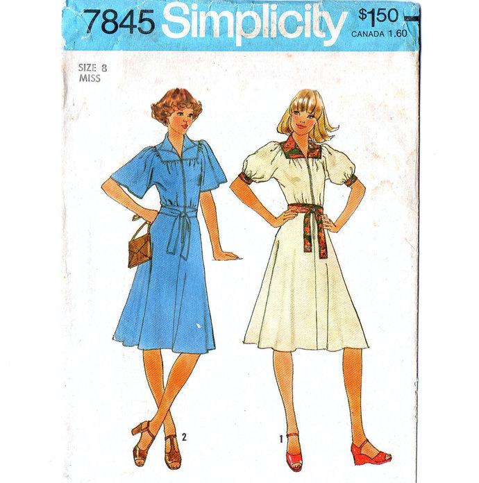 Simplicity 7845 Misses Dress 70s Vintage Sewing Pattern Size 8 Bust 31 1/2 Uncut