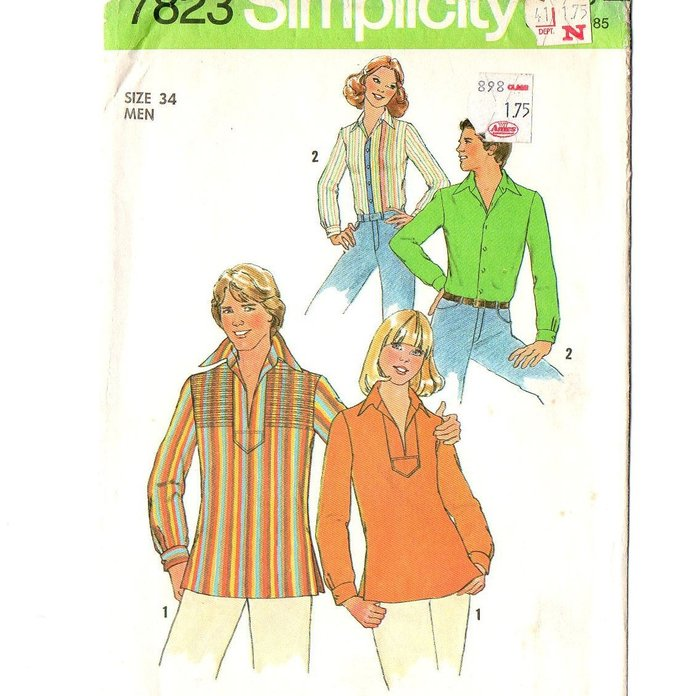 Simplicity 7823 Mens Mod Shirt 70s Vintage Sewing Pattern Size Small Chest 34