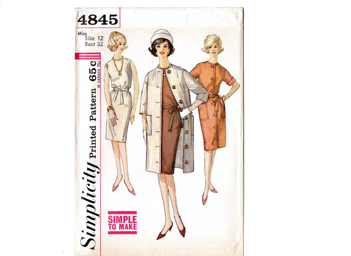 Simplicity 4845 Misses Coat, Dress 60s Vintage Sewing Pattern Size 12 Bust 32