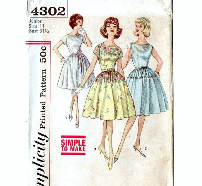 Simplicity 4302 Junior Miss Rockabilly Dress 50s Vintage Sewing Pattern Size 11