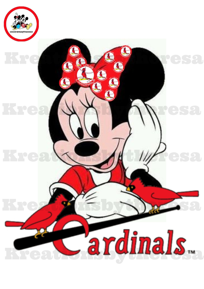 Minnie St.Louis Cardinals Headshots Iron On Transfer