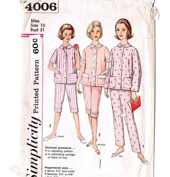 Simplicity 4006 Misses Proportioned Pajamas 60s Vintage Sewing Pattern Size 10