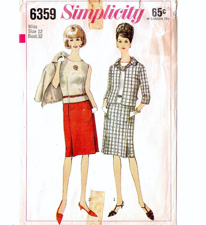 Simplicity 6359 Misses Suit Short Jacket, Straight Skirt, Top 60s Vintage Sewing