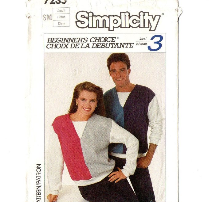Simplicity 7235 Men Misses Knit Shirt 80s Vintage Sewing Pattern Size Small
