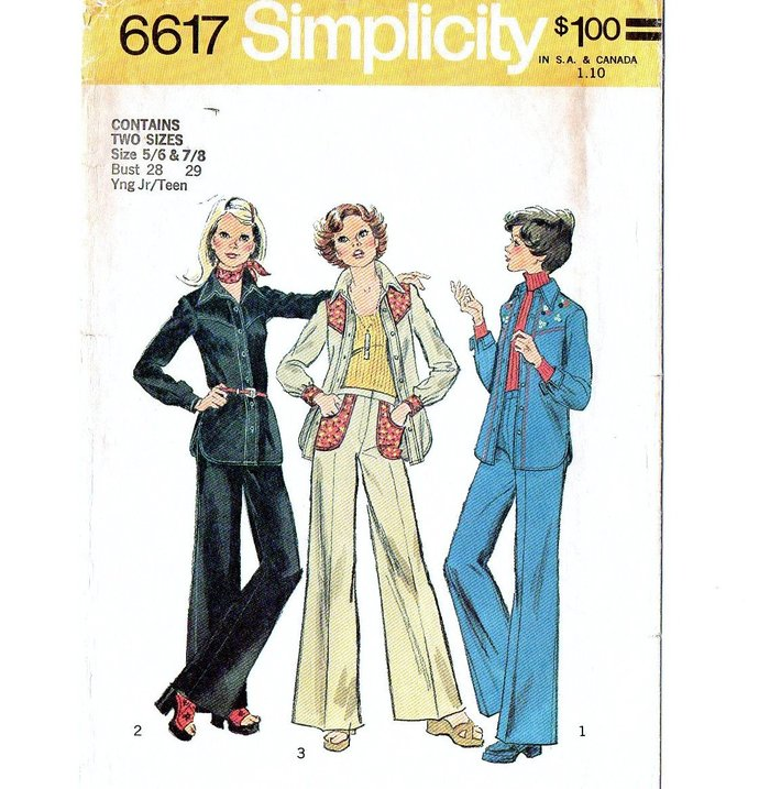 Simplicity 6617 Miss Yoked Shirt Jacket, Pants 70s Vintage Sewing Pattern Size