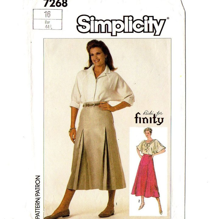 Simplicity 7268 Misses Flared or Pleated Skirt 80s Vintage Sewing Pattern Size