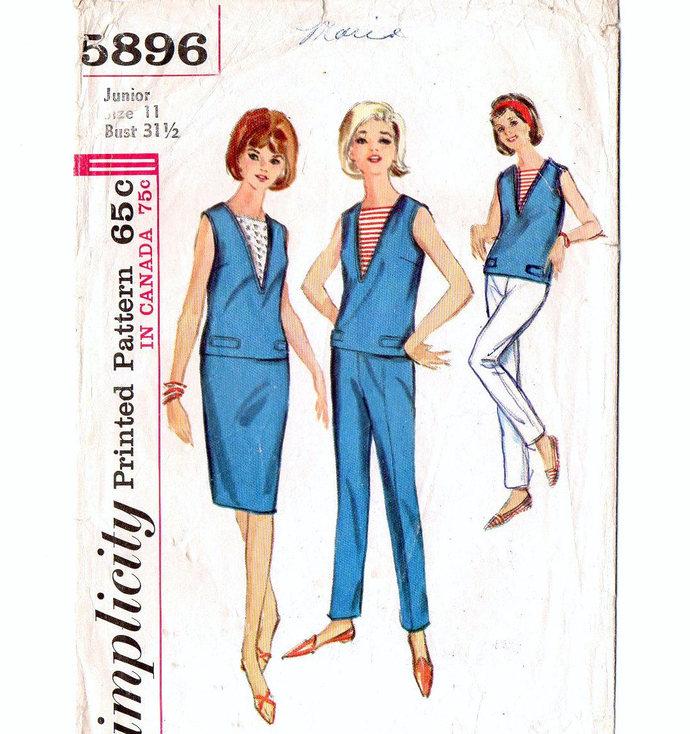 Simplicity 5896 Misses Top, Straight Skirt, Skinny Pants 60s Vintage Sewing