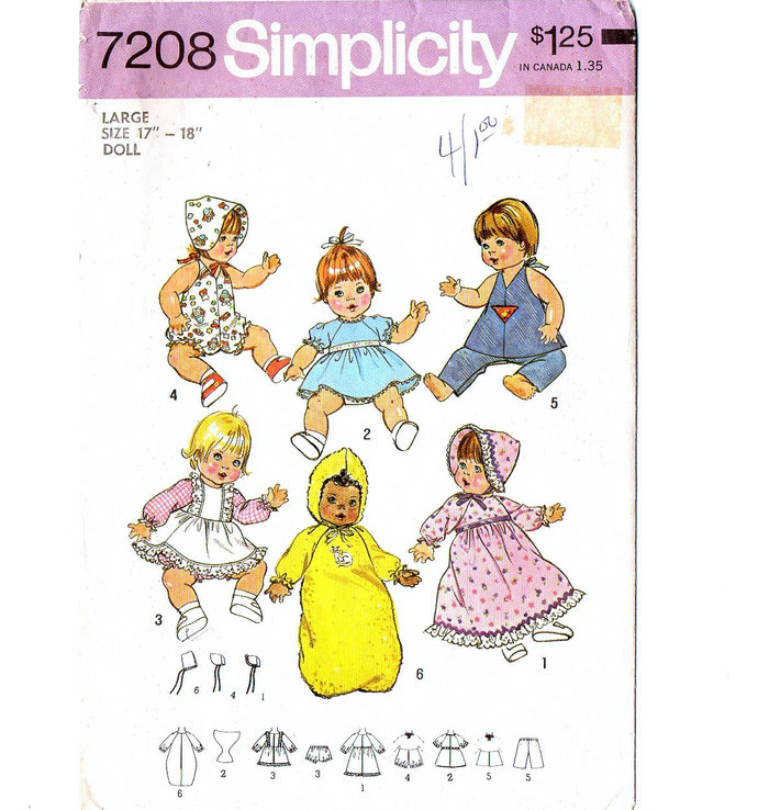 Simplicity 7208 Baby Doll Clothes 70s Vintage Sewing Pattern Size Large 17 - 18