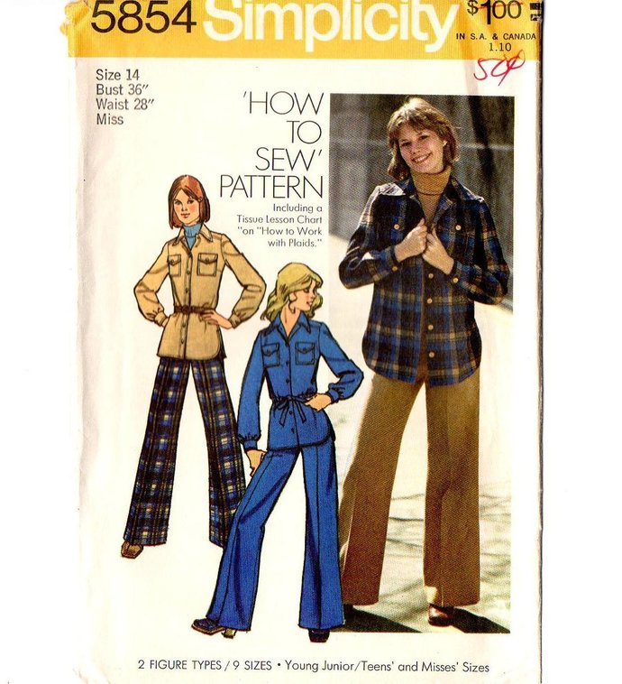 Simplicity 5854  Misses Shirt-Jacket, Pants 70s Vintage Sewing Pattern Size 14