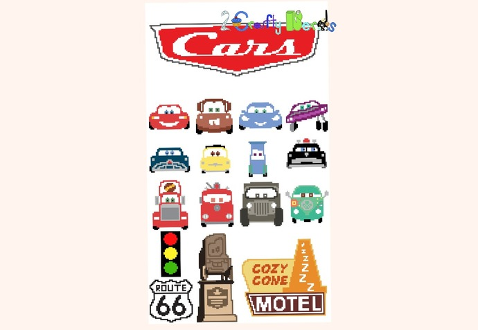 Cars Movie CAL Bundle MiniC2C Pattern Graph with written