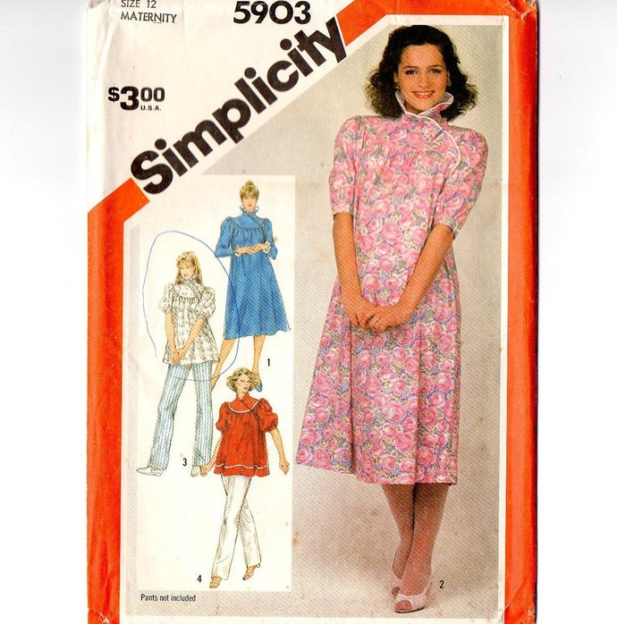 50dd5d13f Simplicity 5903 Misses Maternity Dress, Top 80s Vintage Sewing Pattern Size  12