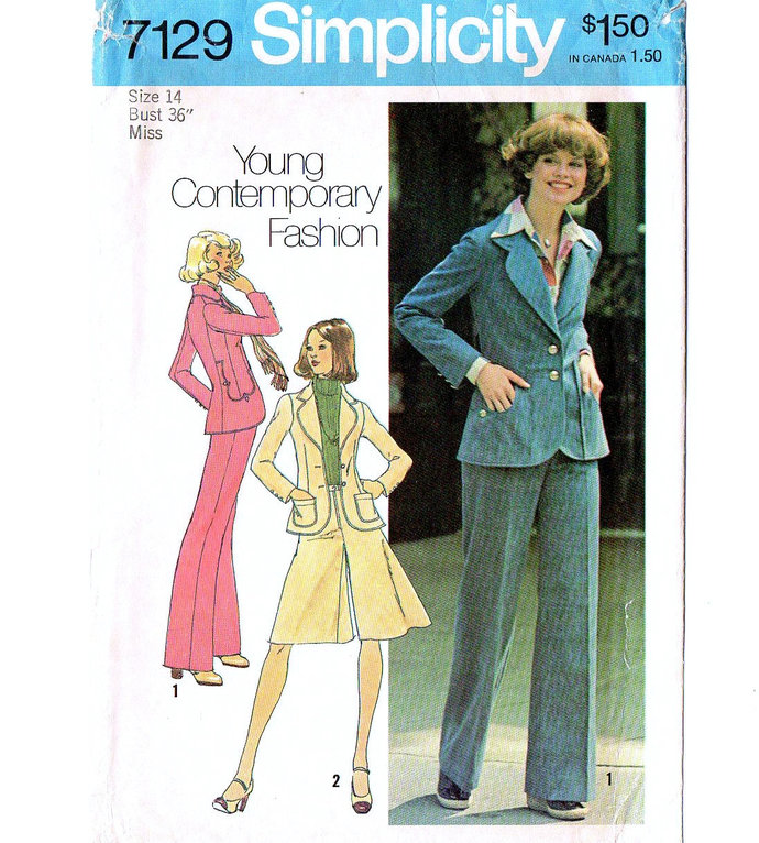 Simplicity 7129 Misses Jacket, Pantskirt, Pants 70s Vintage Sewing Pattern Size