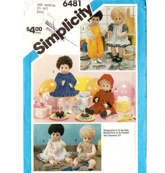 "Simplicity 6481 Baby Doll Clothes 80s Vintage Sewing Pattern Med 15 - 16"" Uncut"